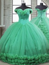 High Class Turquoise Sleeveless Hand Made Flower Lace Up Sweet 16 Dress
