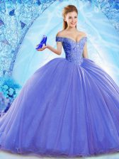Sleeveless Organza Brush Train Lace Up 15 Quinceanera Dress in Blue with Beading