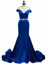 Superior Elastic Woven Satin Sleeveless Prom Party Dress Brush Train and Beading