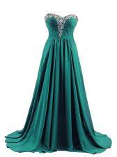 Elastic Woven Satin Sweetheart Sleeveless Brush Train Lace Up Beading Evening Dress in Turquoise