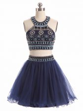 Navy Blue Dress for Prom Prom and Party with Beading Scoop Sleeveless Zipper