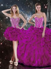 Beautiful Fuchsia Ball Gowns Sweetheart Sleeveless Organza Floor Length Lace Up Beading and Ruffles Quince Ball Gowns