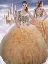 Sumptuous Floor Length Ball Gowns Sleeveless Champagne Quinceanera Dresses Lace Up