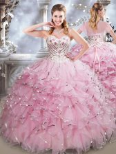 Baby Pink Lace Up Sweetheart Beading and Ruffles Quince Ball Gowns Organza Sleeveless