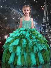 Wonderful Ball Gowns Little Girl Pageant Gowns Turquoise Straps Tulle Sleeveless Floor Length Lace Up