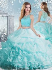Inexpensive Aqua Blue Sleeveless Floor Length Beading and Ruffles and Pick Ups Clasp Handle 15th Birthday Dress