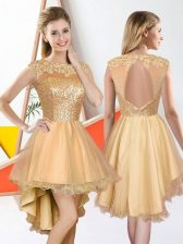 High Class Sleeveless High Low Beading and Lace Backless Quinceanera Dama Dress with Champagne