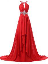 Halter Top Sleeveless Prom Dresses Brush Train Beading and Ruching Red Chiffon