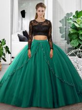 Tulle Long Sleeves Floor Length Quince Ball Gowns and Lace and Ruching