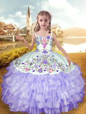 Organza and Taffeta Straps Sleeveless Lace Up Embroidery and Ruffled Layers Pageant Gowns For Girls in Lavender