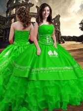 Taffeta Strapless Sleeveless Zipper Embroidery and Ruffled Layers Sweet 16 Quinceanera Dress in Green