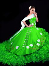 Captivating Green Sleeveless Brush Train Embroidery and Ruffles Quinceanera Dresses