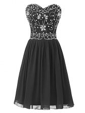 Sleeveless Chiffon Knee Length Lace Up Prom Party Dress in Black with Beading