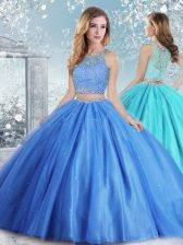Chic Tulle Scoop Sleeveless Clasp Handle Beading and Sequins Ball Gown Prom Dress in Baby Blue