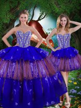 Multi-color Ball Gowns Sweetheart Sleeveless Organza Floor Length Lace Up Beading and Ruffled Layers and Sequins Vestidos de Quinceanera