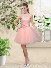 Exquisite Knee Length Lace Up Quinceanera Dama Dress Peach for Prom and Party with Lace and Belt