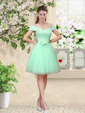 Stunning Apple Green A-line Tulle V-neck Cap Sleeves Belt Knee Length Lace Up Quinceanera Dama Dress