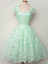 A-line Quinceanera Court of Honor Dress Apple Green Straps Lace Cap Sleeves Knee Length Lace Up