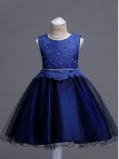 Simple Lace Child Pageant Dress Navy Blue Zipper Sleeveless Knee Length