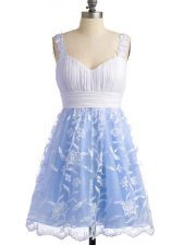 Sleeveless Lace Knee Length Lace Up Quinceanera Court of Honor Dress in Light Blue with Lace