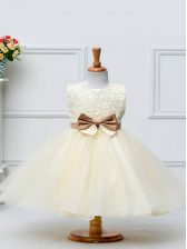 Sleeveless Lace and Bowknot Zipper Pageant Gowns For Girls