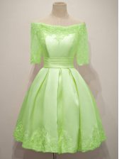 Beauteous Yellow Green Off The Shoulder Lace Up Lace Quinceanera Court Dresses Half Sleeves