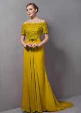 Smart Yellow Empire Chiffon Off The Shoulder Short Sleeves Lace Zipper Prom Dresses Sweep Train