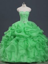Organza Sweetheart Sleeveless Lace Up Beading and Ruffles and Pick Ups Quinceanera Dresses in