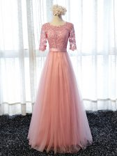 Scoop Half Sleeves Quinceanera Dama Dress Floor Length Lace Pink Tulle