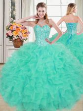 Fashionable Sweetheart Sleeveless Sweet 16 Quinceanera Dress Floor Length Beading and Ruffles Turquoise Organza