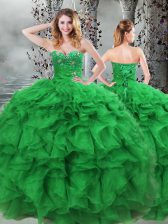 Green Ball Gowns Beading and Ruffles Quinceanera Gowns Lace Up Organza Sleeveless Floor Length