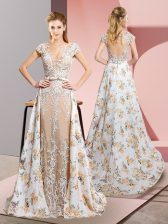 White Short Sleeves Chiffon Brush Train Backless Prom Evening Gown for Prom and Party and Military Ball and Beach