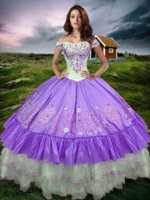 Sleeveless Floor Length Beading and Embroidery and Ruffled Layers Lace Up 15 Quinceanera Dress with Lavender