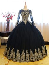 Floor Length Ball Gowns Long Sleeves Navy Blue Ball Gown Prom Dress Lace Up