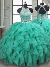 Ball Gowns Sleeveless Turquoise Quinceanera Dress Brush Train Lace Up