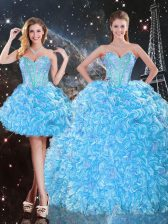 Elegant Organza Sweetheart Sleeveless Lace Up Beading and Ruffles Quinceanera Gown in Baby Blue