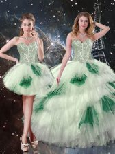 Beading and Ruffled Layers and Sequins Ball Gown Prom Dress Multi-color Lace Up Sleeveless Floor Length
