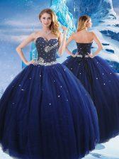 Designer Floor Length Navy Blue Quinceanera Gown Tulle Sleeveless Beading
