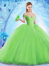 Sleeveless Beading Lace Up Quince Ball Gowns
