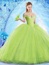 Yellow Green Ball Gown Prom Dress Organza Brush Train Sleeveless Beading