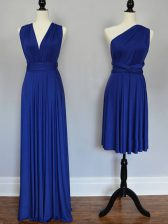 Royal Blue Sleeveless Floor Length Ruching Lace Up Quinceanera Court of Honor Dress