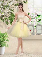 Amazing Knee Length Light Yellow Quinceanera Court Dresses Organza Sleeveless Lace and Belt