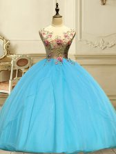 Sweet Baby Blue Organza Lace Up Quinceanera Gown Sleeveless Floor Length Appliques