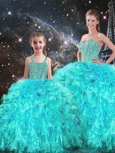 Aqua Blue Organza Lace Up Vestidos de Quinceanera Sleeveless Floor Length Beading and Ruffles