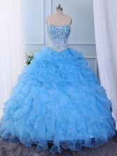 Custom Designed Sleeveless Floor Length Beading and Embroidery and Ruffled Layers Lace Up Vestidos de Quinceanera with Baby Blue