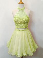 Suitable Knee Length Two Pieces Sleeveless Yellow Green Dama Dress for Quinceanera Lace Up