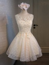 Custom Made Champagne Scoop Lace Up Lace and Appliques and Belt Prom Dress Sleeveless