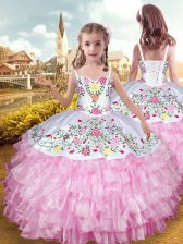 Sleeveless Embroidery and Ruffled Layers Lace Up Little Girl Pageant Dress
