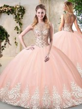 Fashion Sleeveless Tulle Floor Length Backless Sweet 16 Quinceanera Dress in Peach with Beading and Appliques