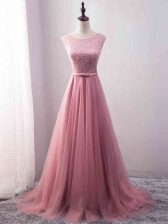 Zipper Prom Dress Pink for Prom and Party and Military Ball and Beach with Beading and Belt Brush Train